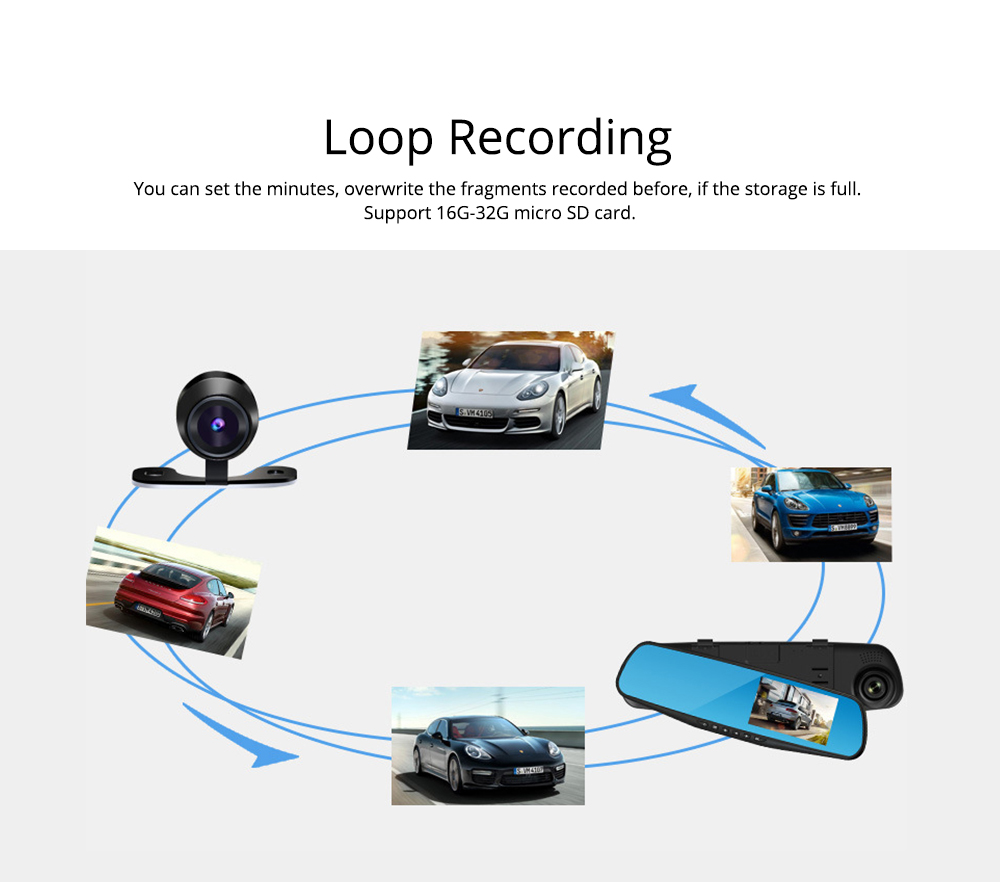 Rear View Mirror Camera Recorder, 1080P HD Driving Recorder For Night Vision Parking Monitoring 3