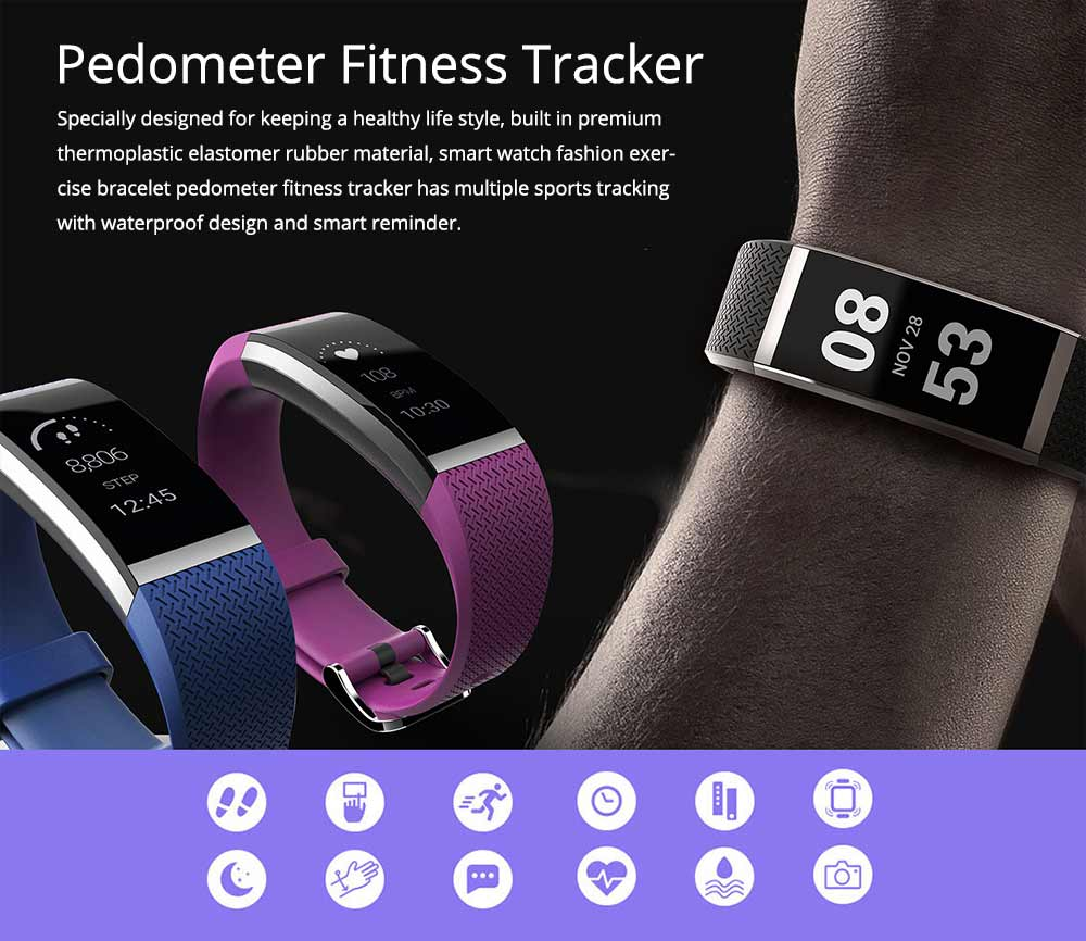 Wristband Pedometer Fitness Tracker, Fashion Exercise Sports Bracelet For Heart Rate Monitoring 0