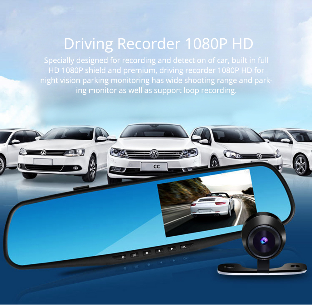 Rear View Mirror Camera Recorder, 1080P HD Driving Recorder For Night Vision Parking Monitoring 0