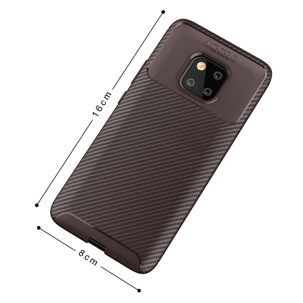 Spessn Carbon Fiber Cover Anti-Scratch Shockproof Skin Case for Huawei Mate 20 Pro, Mate 20 Classic Black Blue Brown 5