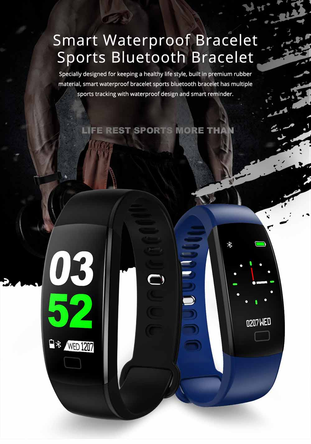 Waterproof Sports Bluetooth Bracelet for Call Reminder Monitoring, Music, GPS and Weather 0
