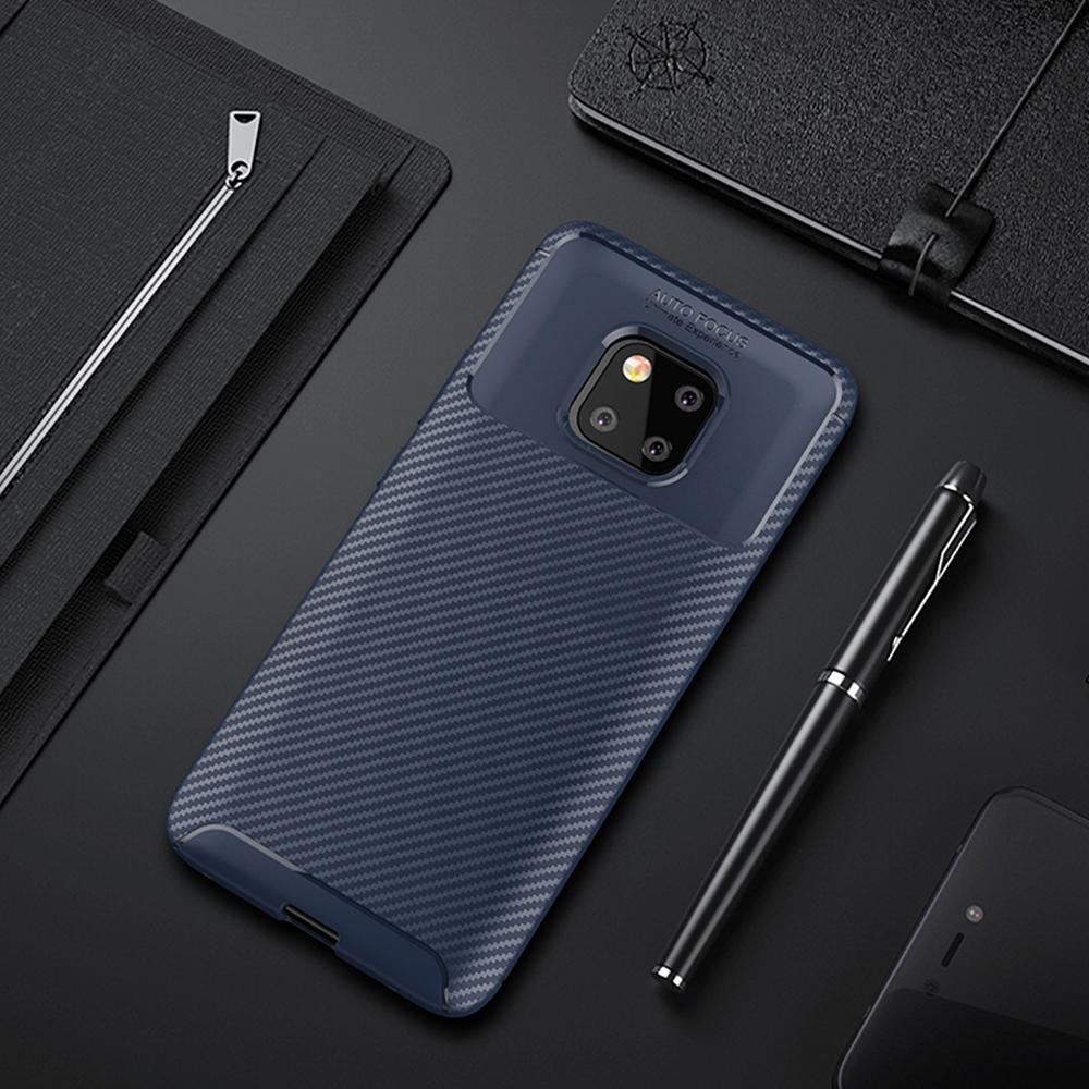 Spessn Carbon Fiber Cover Anti-Scratch Shockproof Skin Case for Huawei Mate 20 Pro, Mate 20 Classic Black Blue Brown 2