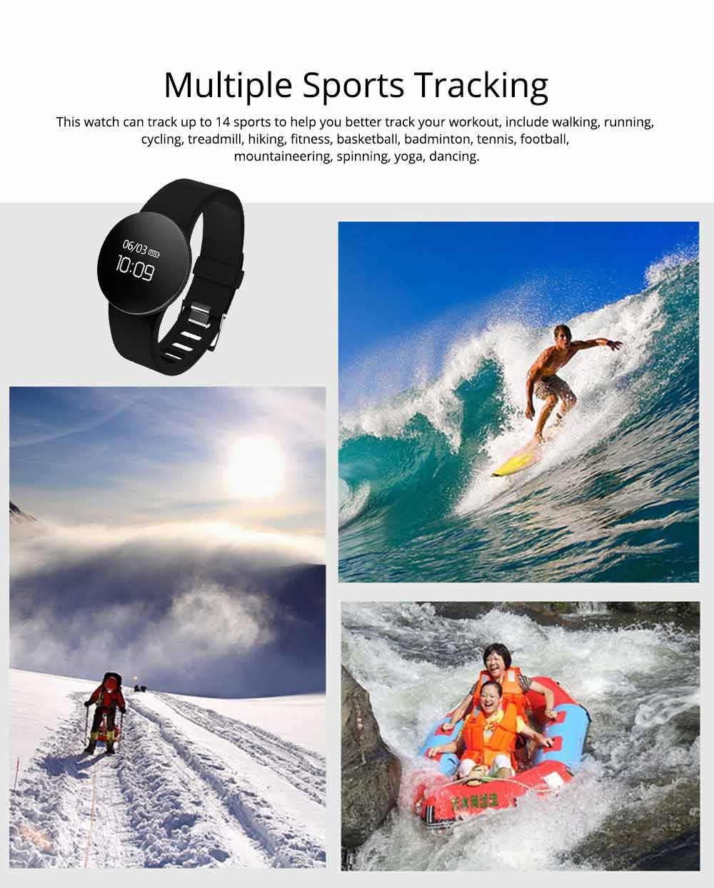 Waterproof Sports Watch Smart Bracelet for Call, Sleep Monitoring, Heart Rate Monitoring 1