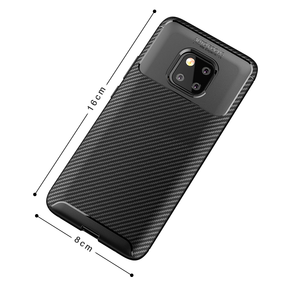 Spessn Carbon Fiber Cover Anti-Scratch Shockproof Skin Case for Huawei Mate 20 Pro, Mate 20 Classic Black Blue Brown 1