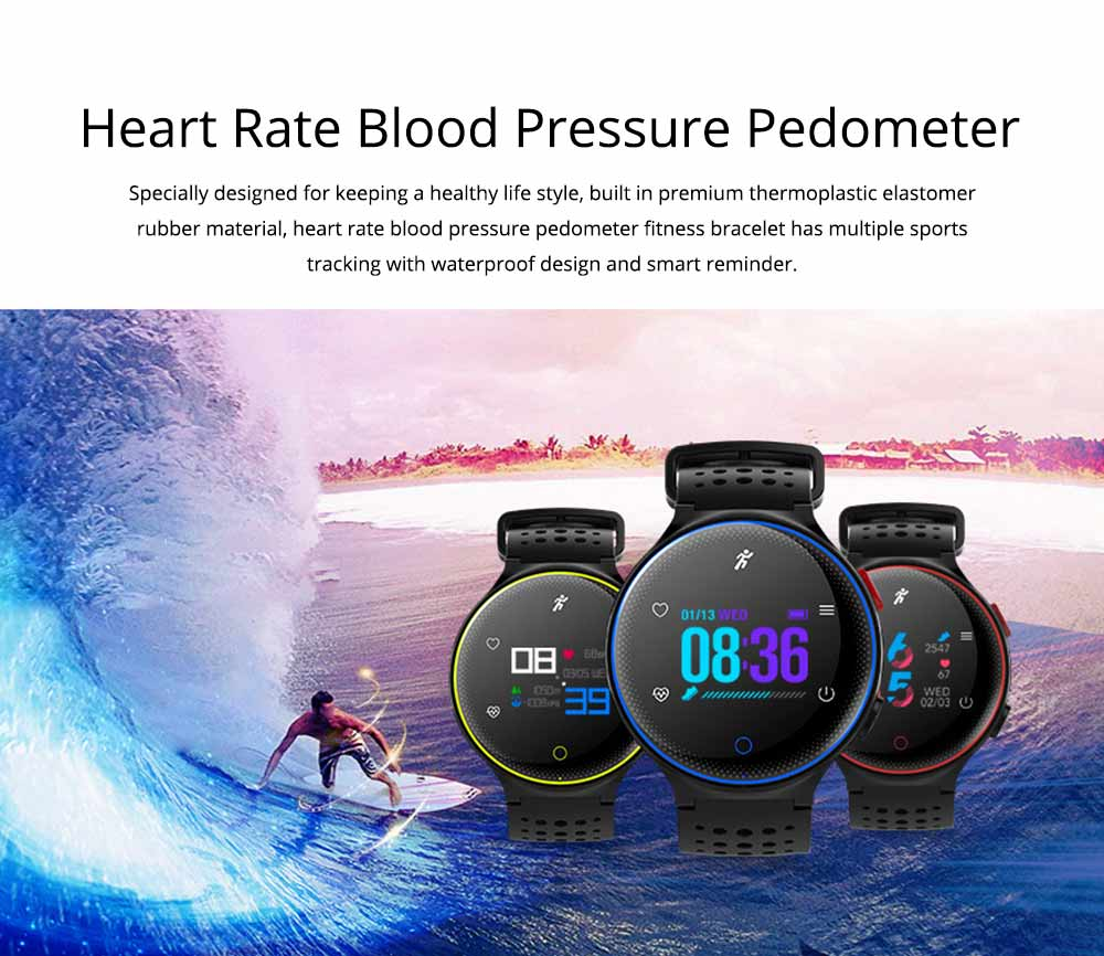 Blood Pressure Pedometer Heart Rate Monitor Sports Smart Wristband Bracelet 0