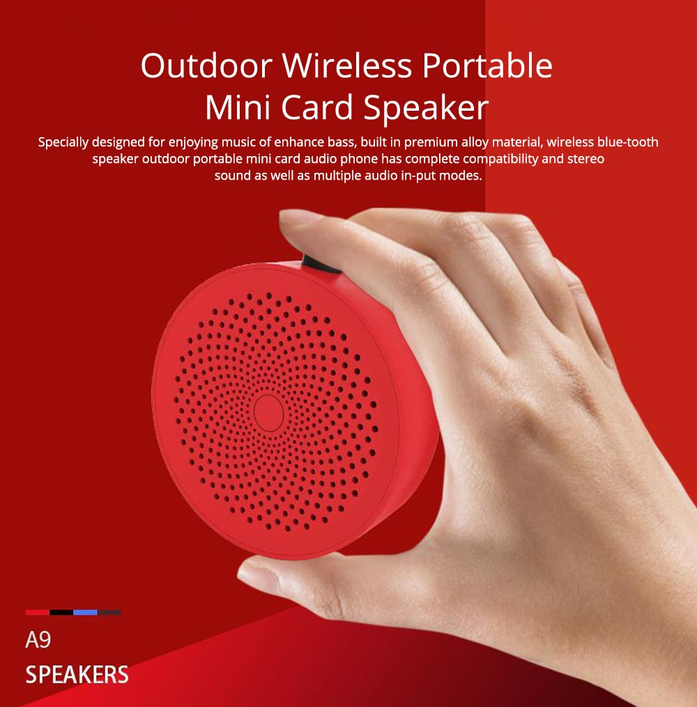 Portable Outdoor Bluetooth Speaker, Wireless Mini Card Speaker for iPhone iPad PC 0