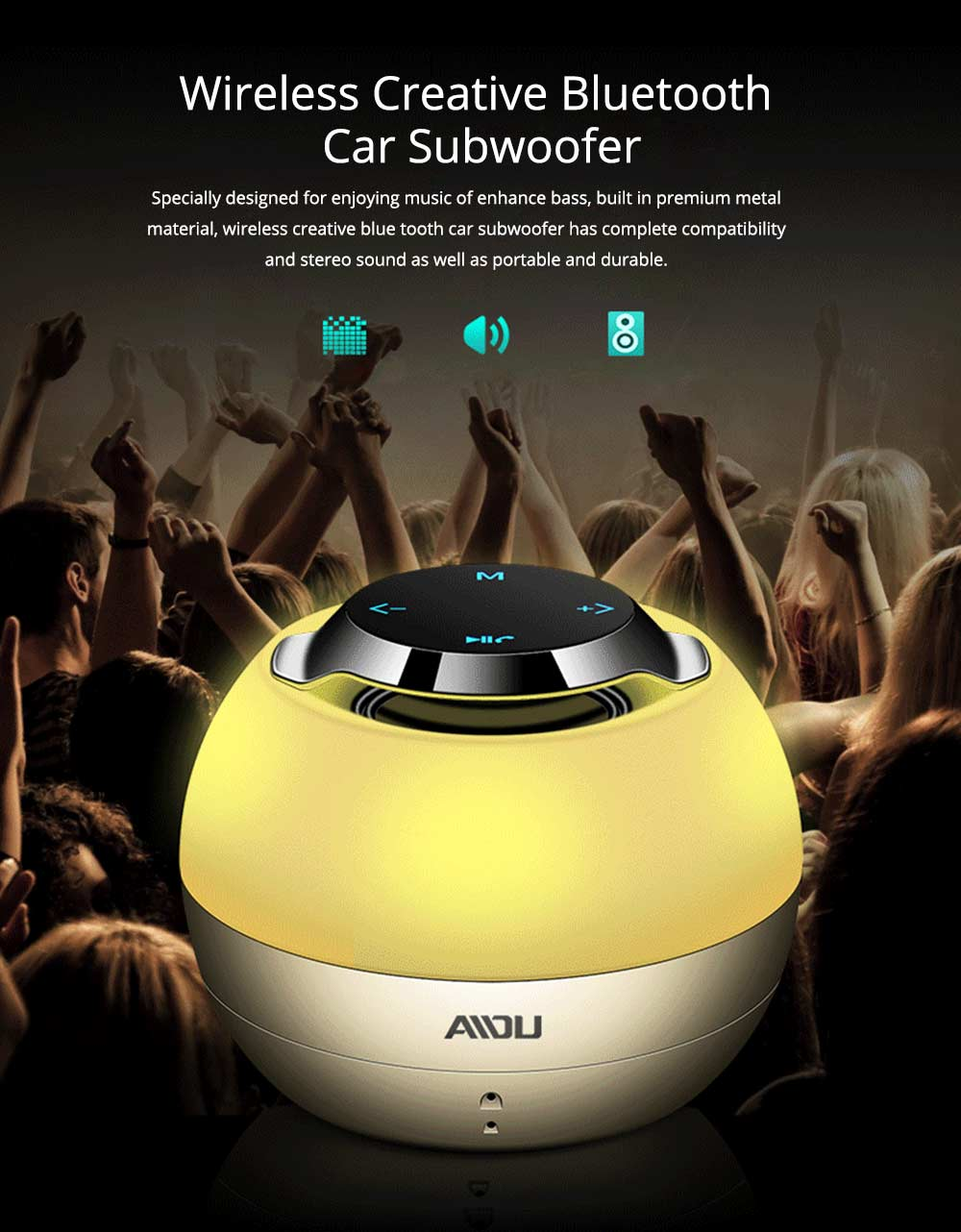 Portable Bluetooth Speaker With Built In Subwoofer, Mini Network Audio For iPhone iPad PC 0