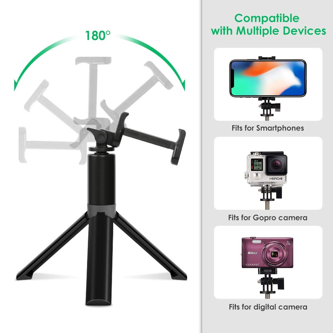 Bluetooth Selfie Stick Tripod Remote Extendable Monopod Shutter For iPhone Android Phone Gopro 2