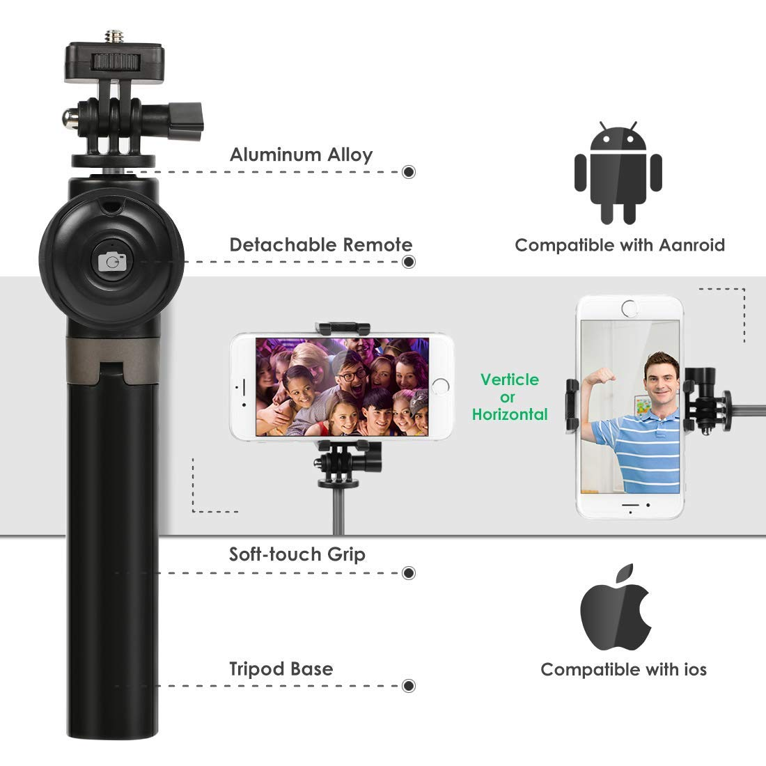 Bluetooth Selfie Stick Tripod Remote Extendable Monopod Shutter For iPhone Android Phone Gopro 1