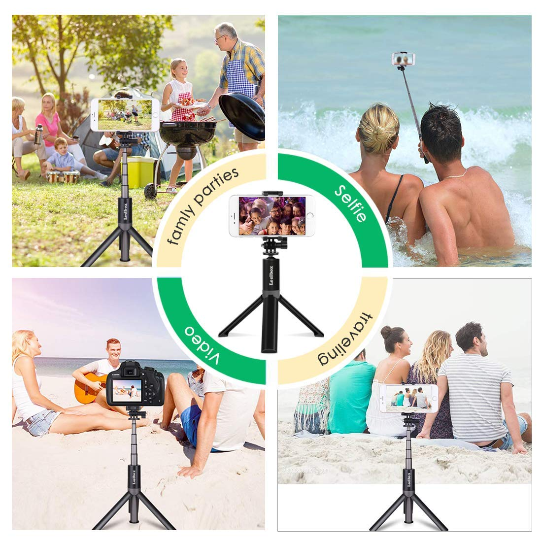Bluetooth Selfie Stick Tripod Remote Extendable Monopod Shutter For iPhone Android Phone Gopro 5