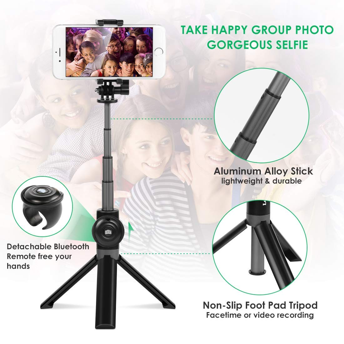 Bluetooth Selfie Stick Tripod Remote Extendable Monopod Shutter For iPhone Android Phone Gopro 0