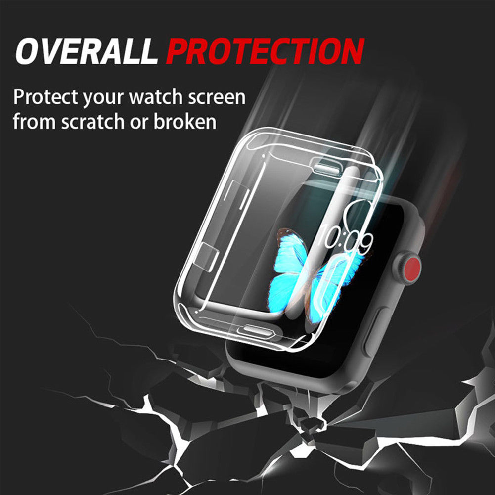 For Apple iWatch Screen Protector Clear Case Soft Silicone Full Protecive Cover, Spessn Bumper For Apple Watch Series 1/ 2 /3 / 4 38mm 42mm 40mm 44mm 2