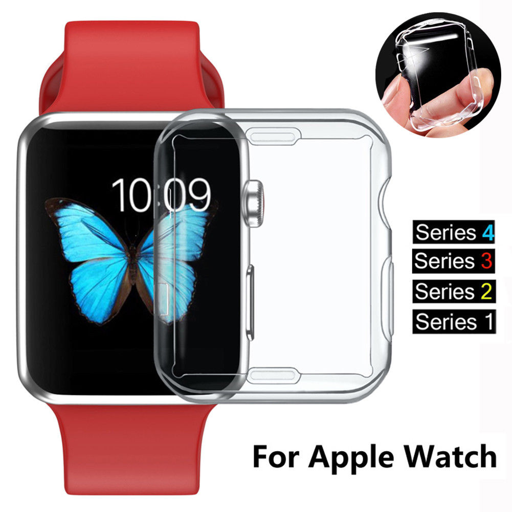 For Apple iWatch Screen Protector Clear Case Soft Silicone Full Protecive Cover, Spessn Bumper For Apple Watch Series 1/ 2 /3 / 4 38mm 42mm 40mm 44mm 0