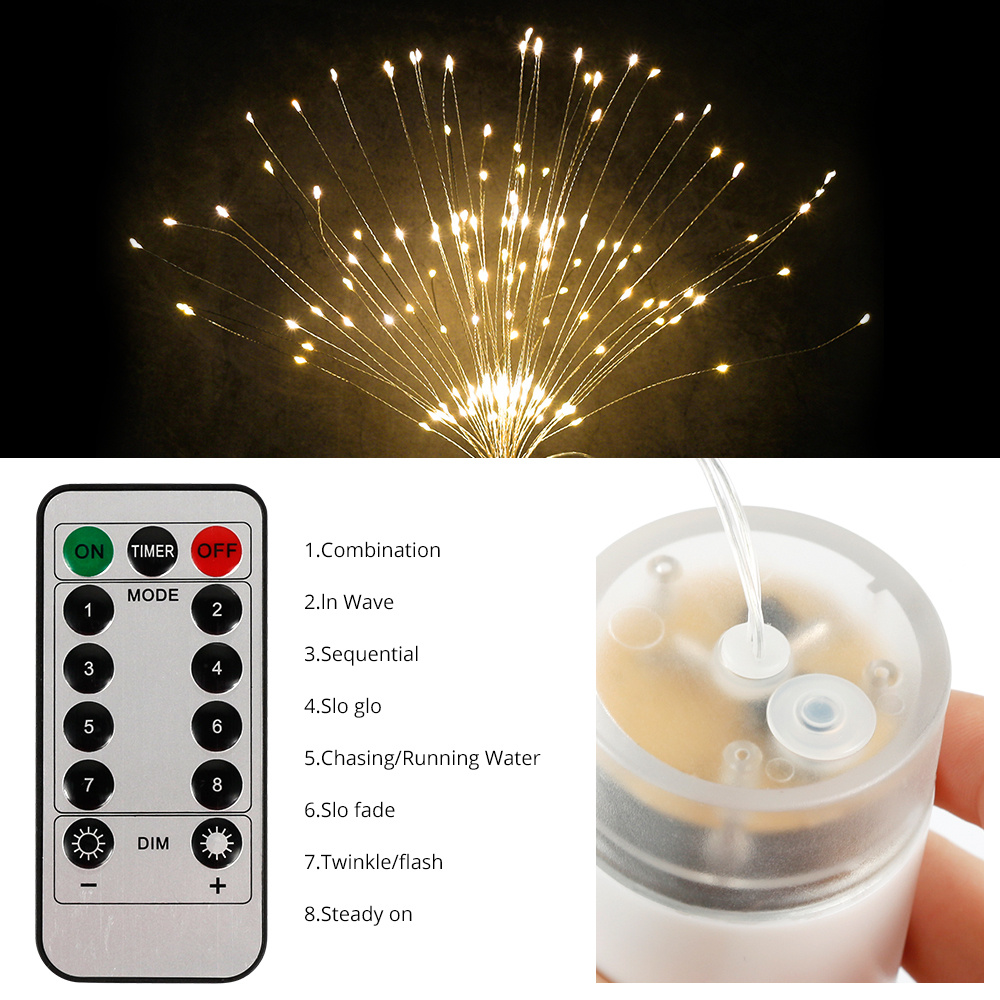 100 120 150 180 Creative Hanging Twinkle Lights Outdoor Led String Firework Light Wireless Remote 10M Dimmer Waterproof Battery Operated 3