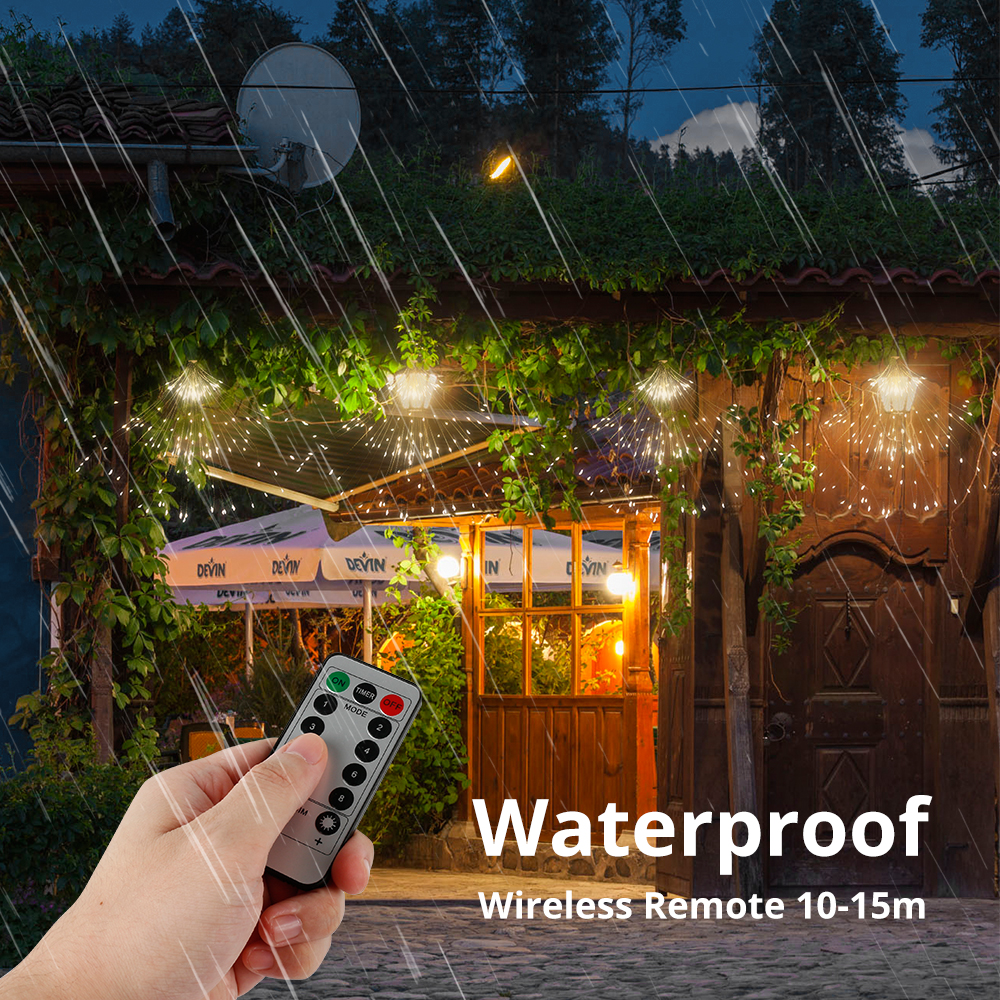 100 120 150 180 Creative Hanging Twinkle Lights Outdoor Led String Firework Light Wireless Remote 10M Dimmer Waterproof Battery Operated 2