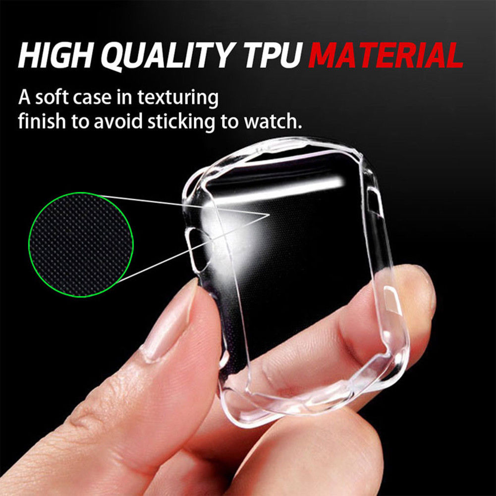 For Apple iWatch Screen Protector Clear Case Soft Silicone Full Protecive Cover, Spessn Bumper For Apple Watch Series 1/ 2 /3 / 4 38mm 42mm 40mm 44mm 4
