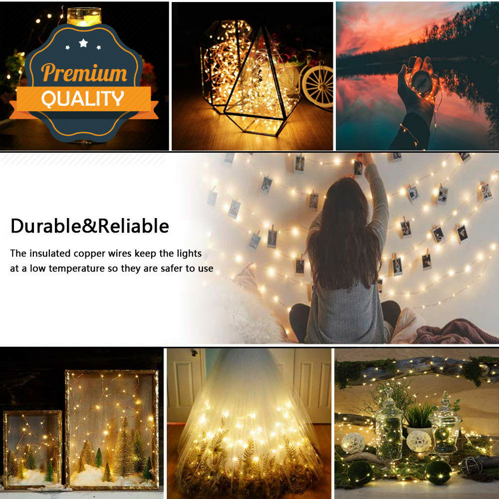 5m 10m Led Twinkle Light Outdoor Indoor Fairy String Christmas DIY Light AA Battery Powered Waterproof Wireless Remote Control 2
