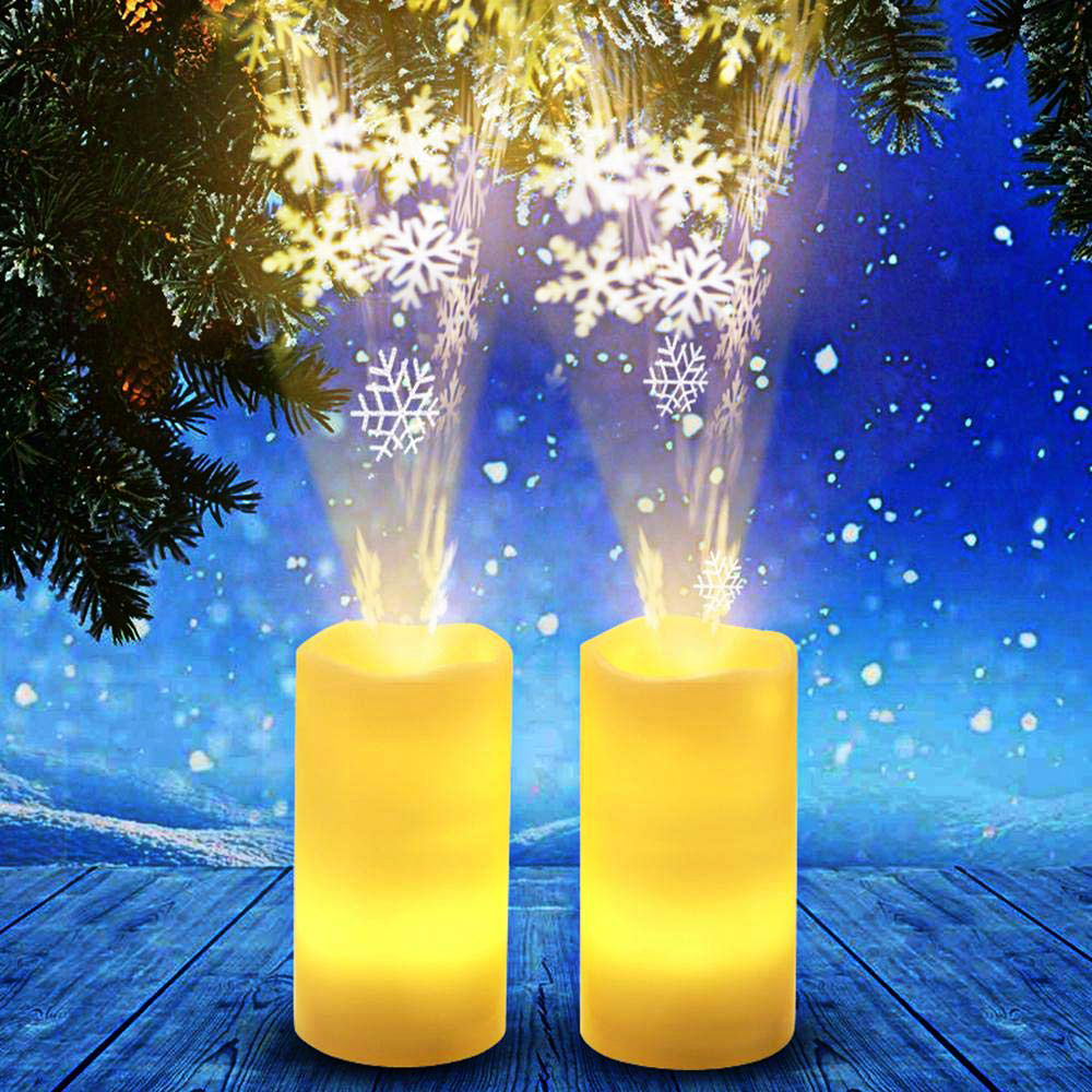 Eco-friendly Christmas Projector Lights Snowfall Indoor Flameless LED Projection Candle Lamp With Timer Wiress Remote Home Decoration 0