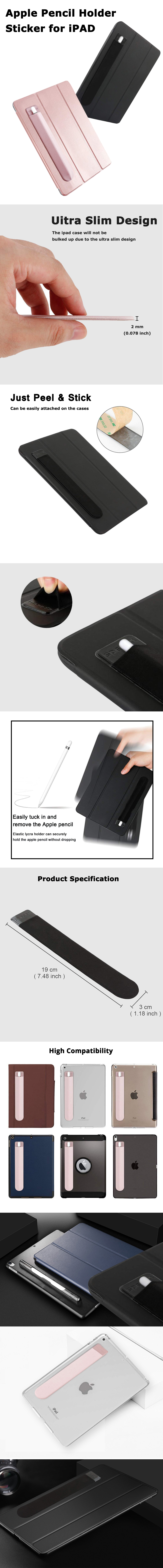 iPad Pro Pencil Holder Case Stylus Sticker Holder Apple Pen Pencil Holder Case for ipad Elastic Adhesive Protective Sleeve 6