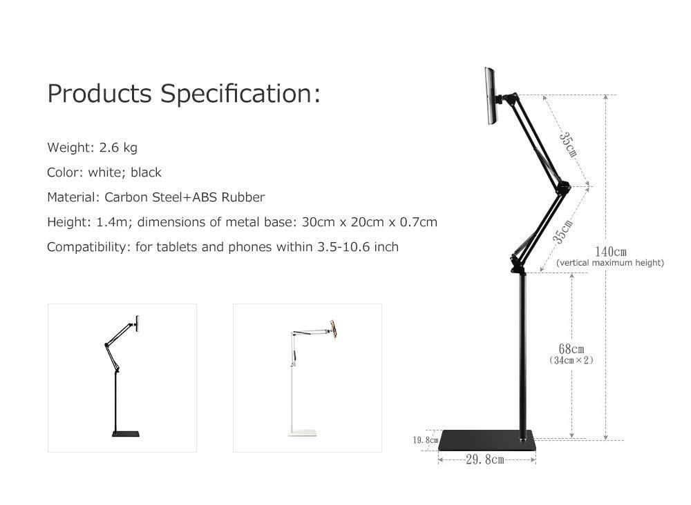Spessn Adjustable Universal Tablet Floor Stand 360-degree Rotatable Metal Tablet Holder For Samsung Galaxy Tab13 inch, iPad Pro 12.9, iPad Mini, iPad Air, LG, Huawei and Xiaomi 4