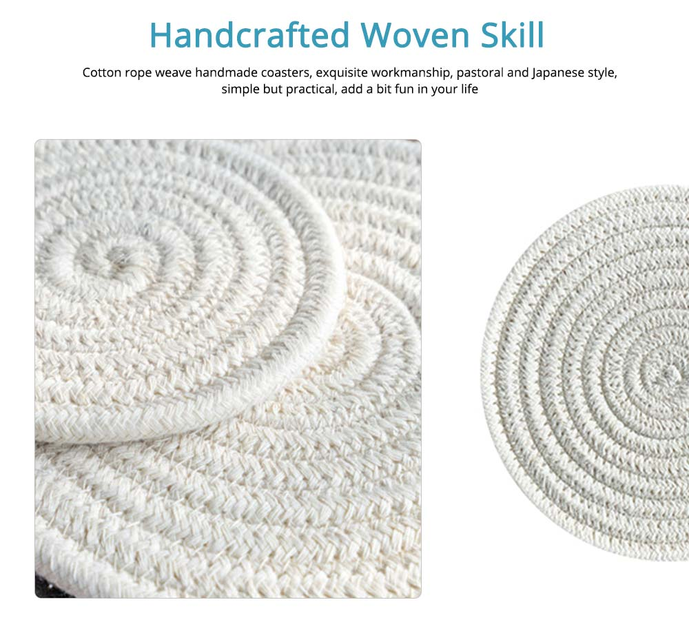 Handmade Cotton Coaster with Round Shape, Stylish Hot Pot Mat with Woven Rope for Kitchen, Office 1