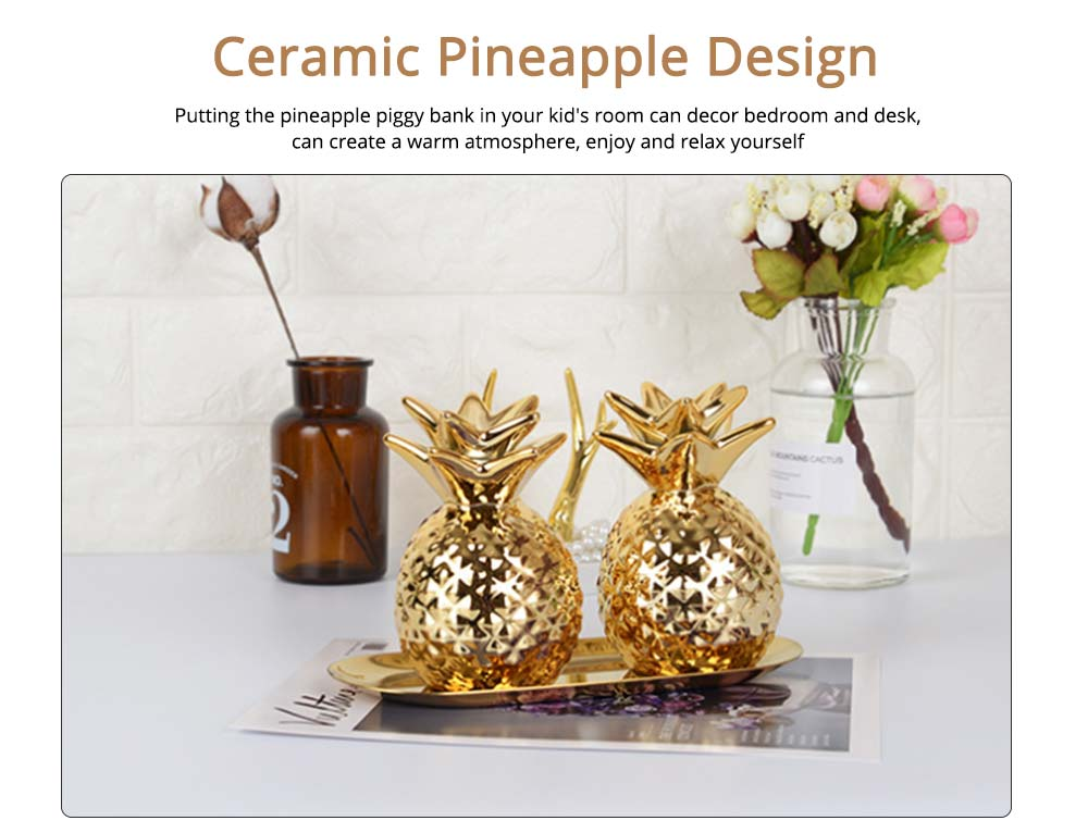 Pineapple Ceramic Piggy Bank Money Cans for Birthday Gifts, Party, Graduation Ceremony 1