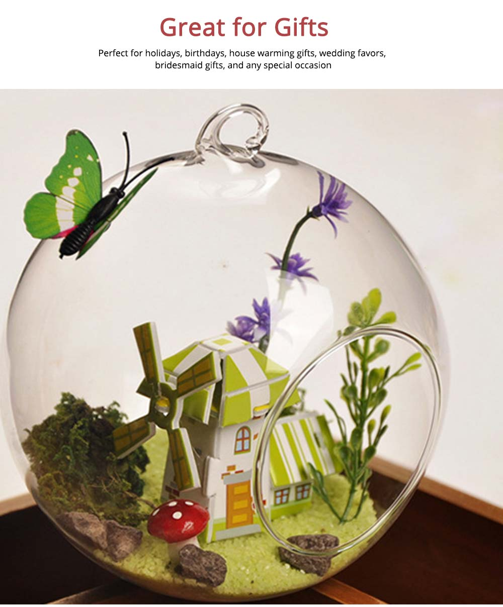 Hanging Glass Terrarium Miniature House Decoration for House, Office, Room,Gift 5