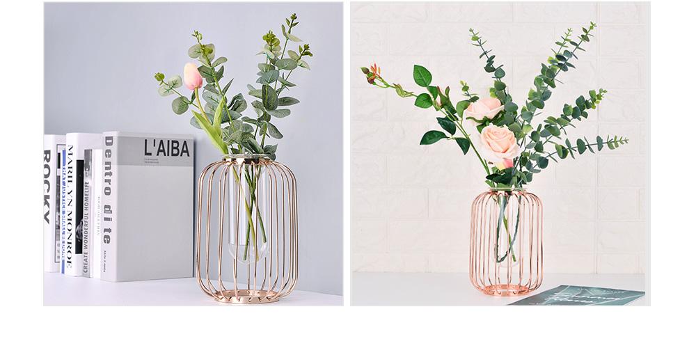 Luxury Nordic Style Vase with Wrought Iron Art, Lantern-shaped Holder with Glass Tube Inside 4