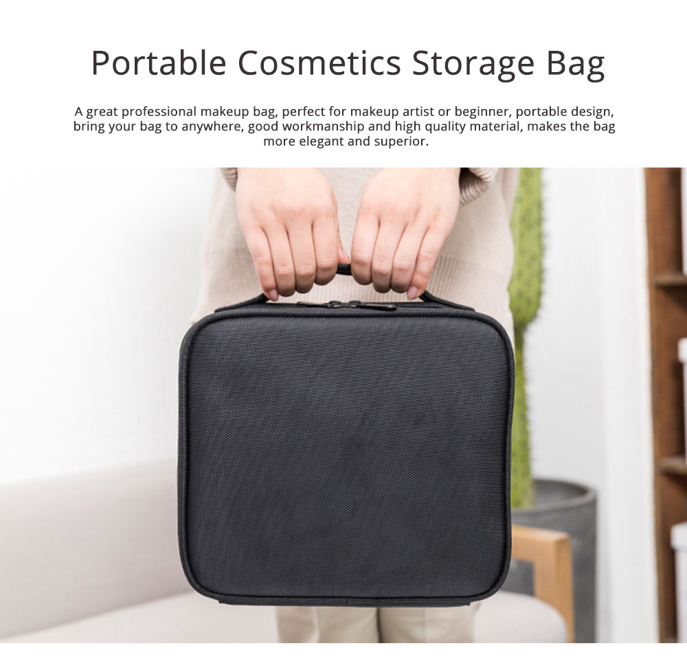 Portable Travel Cosmetics Bag, Black Storage Bag With Adjustable Dividers For Cosmetics, Makeup Brushes, Toiletry & Jewelry 0