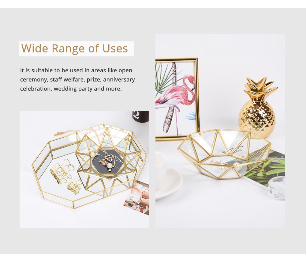 Nordic Style Glass Storage Tray for Small Jewelry and Cosmetics, Storage Salver with Golden Brass Frame 4