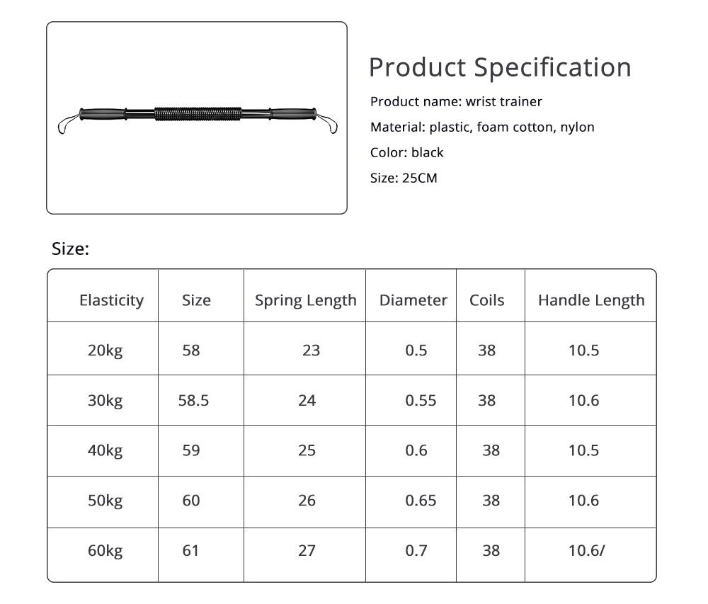 Men's Power Trister Bar, Arm & Chest Builder, Arm Strength Trainer Exerciser, 20~60KG 6