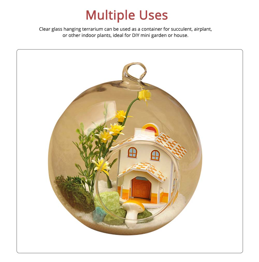 Hanging Glass Terrarium Miniature House Decoration for House, Office, Room,Gift 1