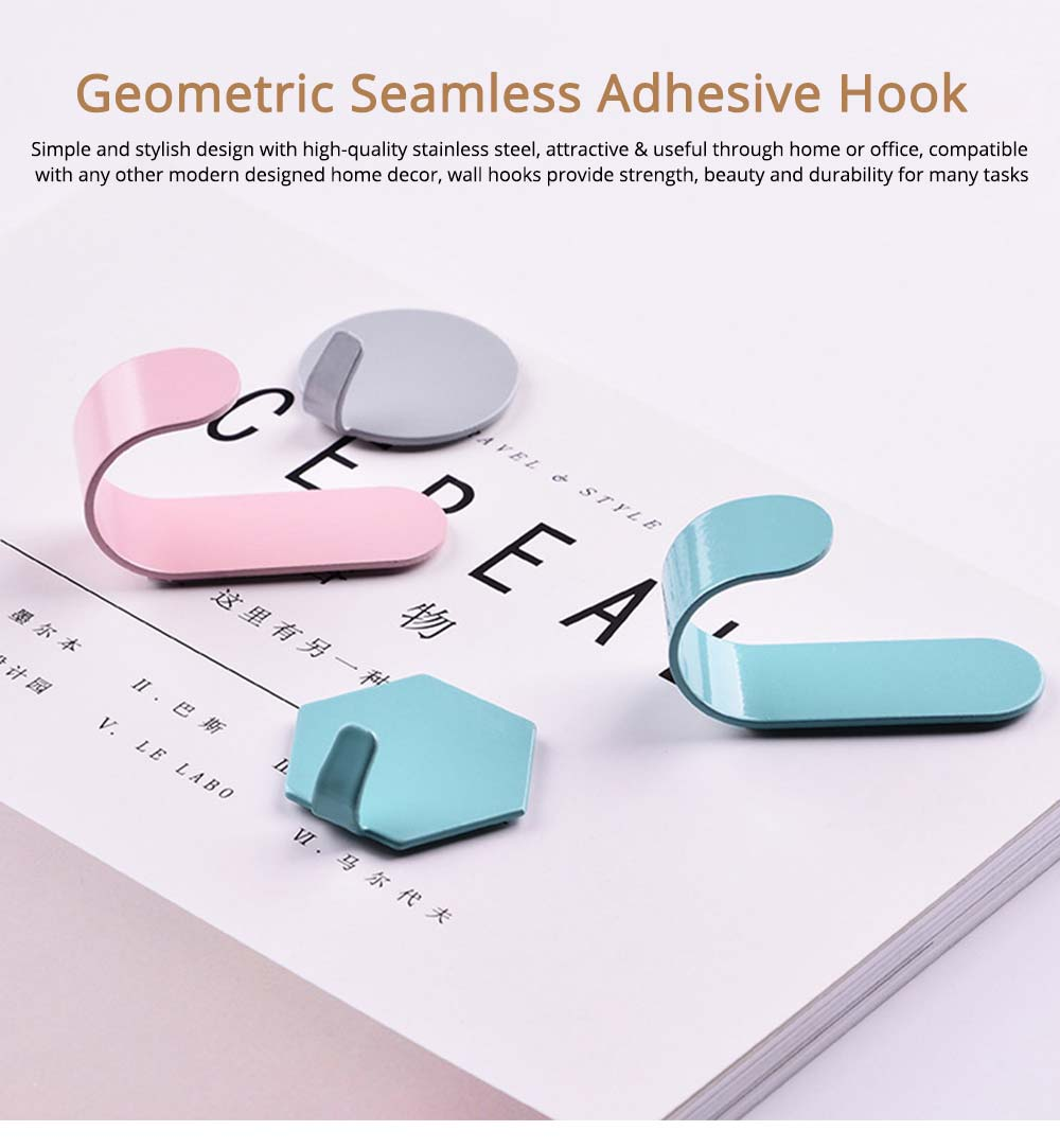 Geometric Seamless Adhesive Hook, Heavy Duty Iron Wall Hook for Bedroom, Living Room 0