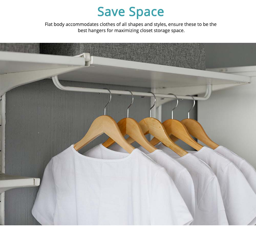 Solid Wooden Suit Hangers With Locking Bar, Sturdy Multifunctional Clothes Hanger For Wardrobe 2