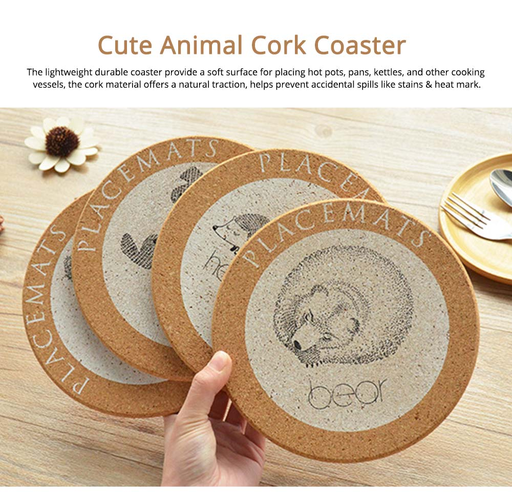 Nordic Cork Coaster with Round Edges, Cute Animal Cup Mat for Hot Pot, Cup & Bowl 0