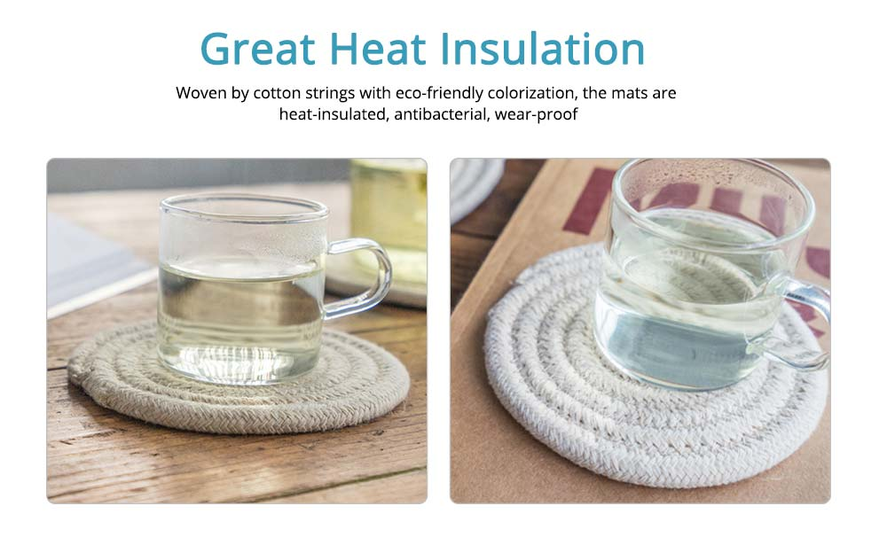 Handmade Cotton Coaster with Round Shape, Stylish Hot Pot Mat with Woven Rope for Kitchen, Office 3