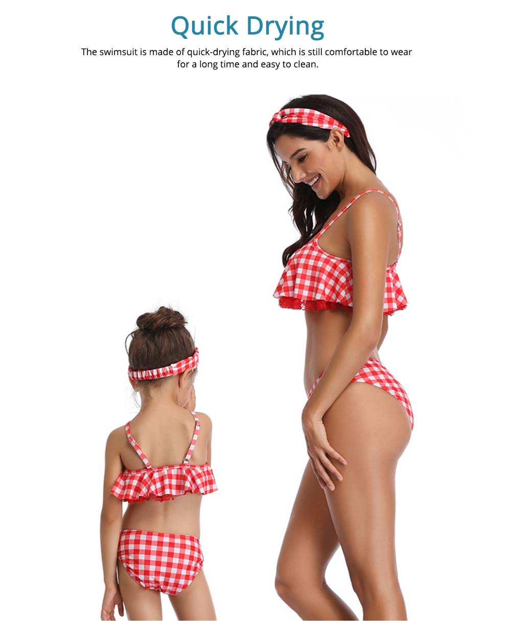 Red Plaid Swimsuit, Fashionable Bathing Suit for Women and Girls 5