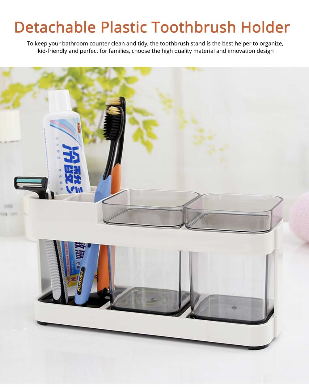 Detachable Plastic Toothbrush Holder with Cup, Wash Supplies Storage Shelf for Household Use 0