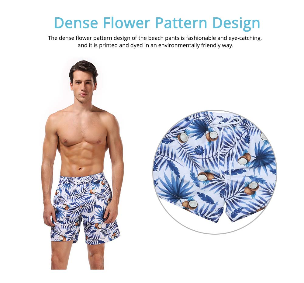 Mens Dense Flower Pattern Swimsuit, Swimsuit Beach Pants For Men and Children 9