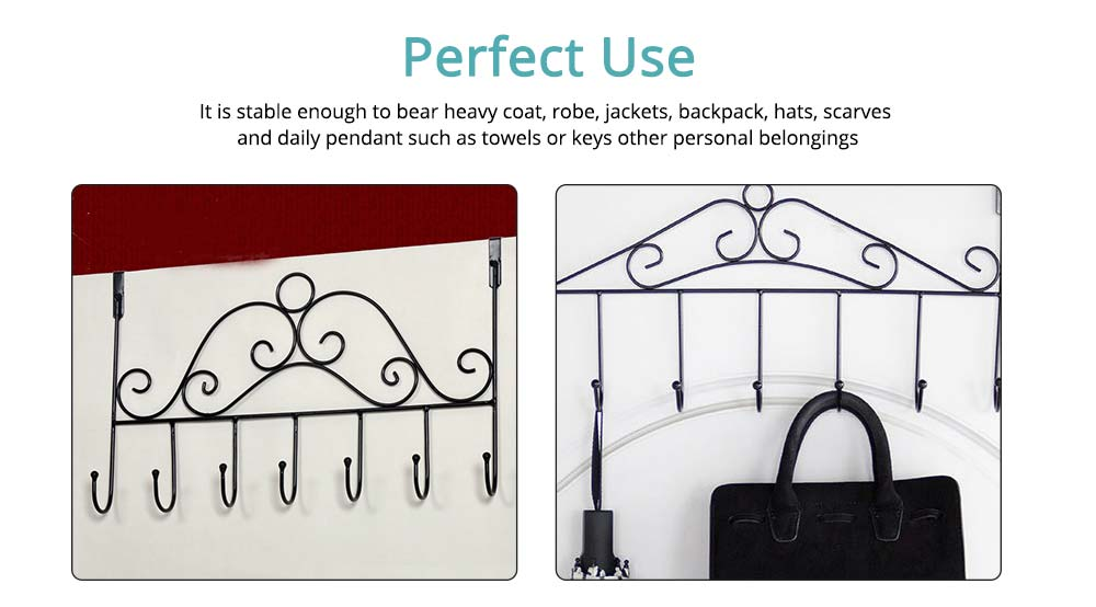 Metal Seamless Door Hook, Decorative Hook Organizer for Hat, Belt, Towel, Coat, Dress 3