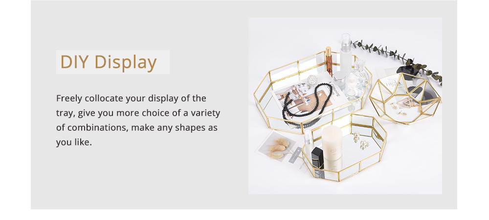 Nordic Style Glass Storage Tray for Small Jewelry and Cosmetics, Storage Salver with Golden Brass Frame 2