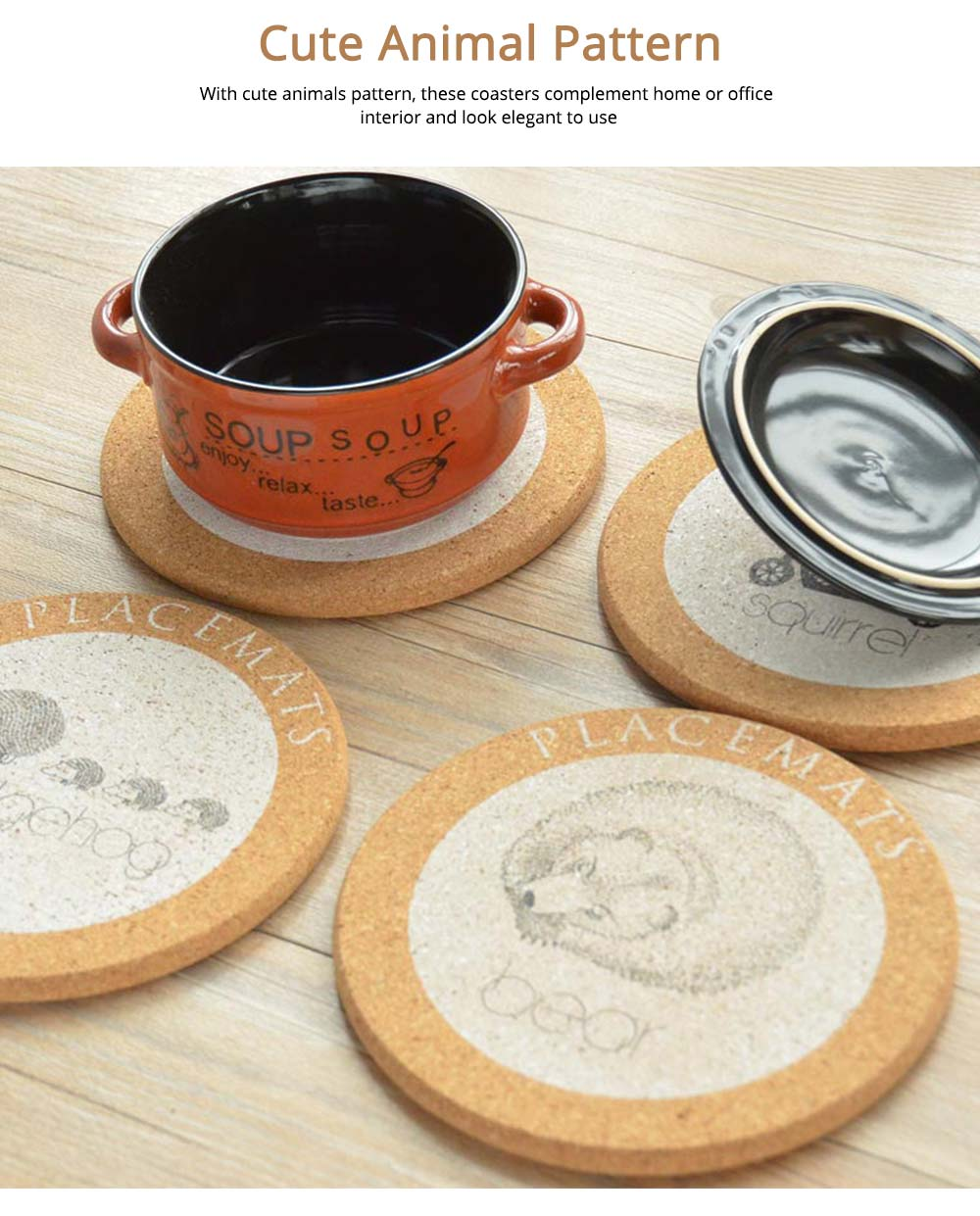 Nordic Cork Coaster with Round Edges, Cute Animal Cup Mat for Hot Pot, Cup & Bowl 5