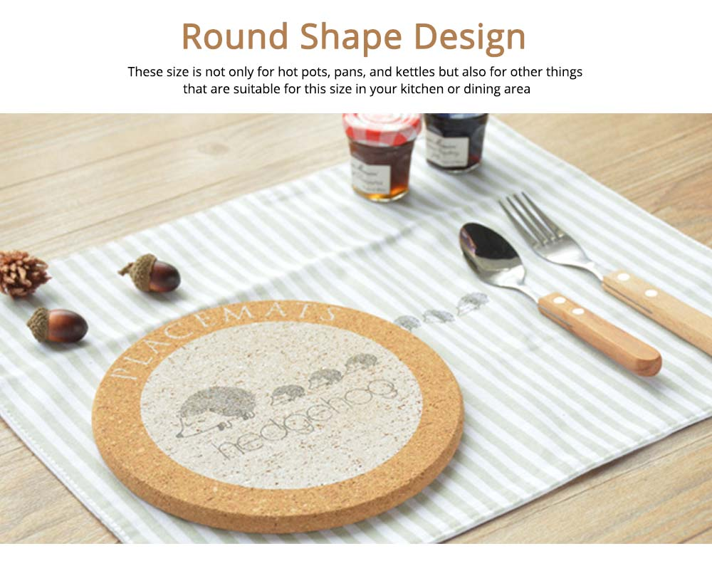 Nordic Cork Coaster with Round Edges, Cute Animal Cup Mat for Hot Pot, Cup & Bowl 2