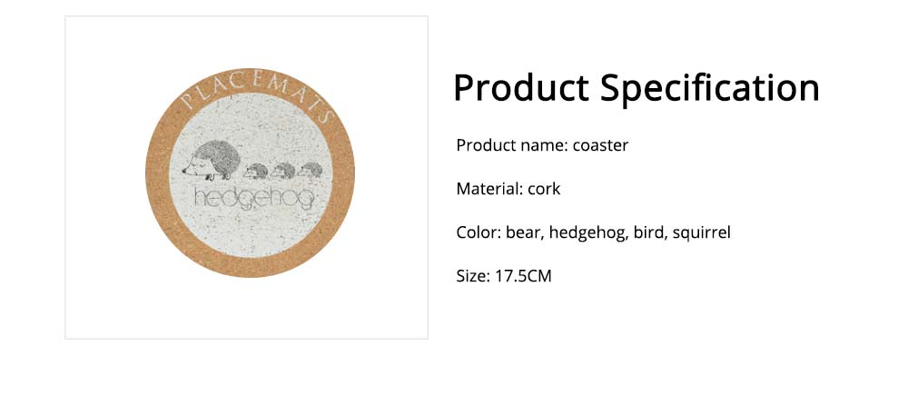 Nordic Cork Coaster with Round Edges, Cute Animal Cup Mat for Hot Pot, Cup & Bowl 6