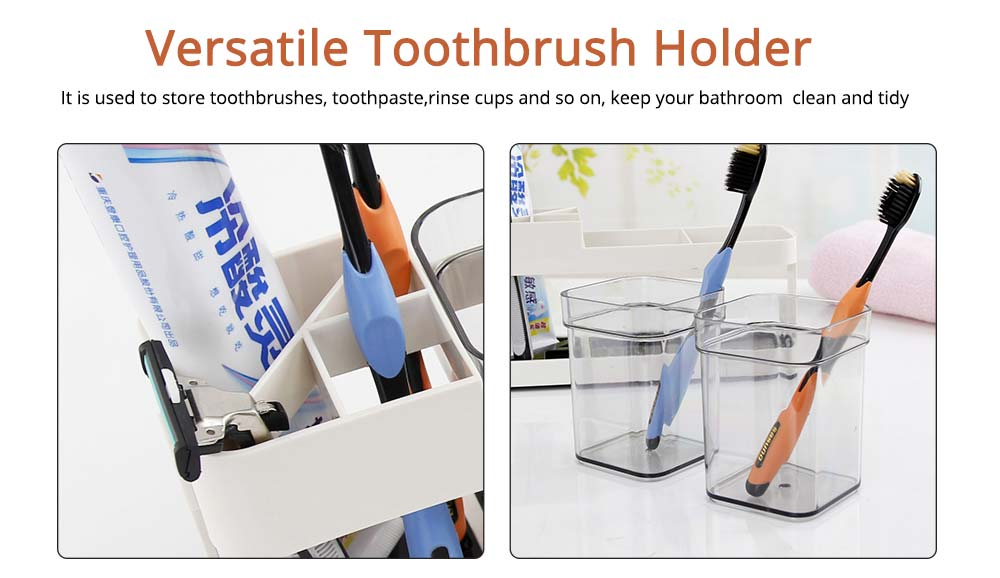 Detachable Plastic Toothbrush Holder with Cup, Wash Supplies Storage Shelf for Household Use 3