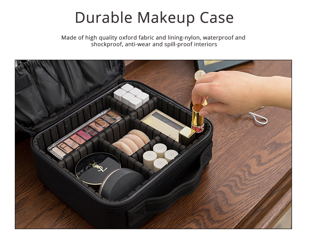 Portable Travel Cosmetics Bag, Black Storage Bag With Adjustable Dividers For Cosmetics, Makeup Brushes, Toiletry & Jewelry 1