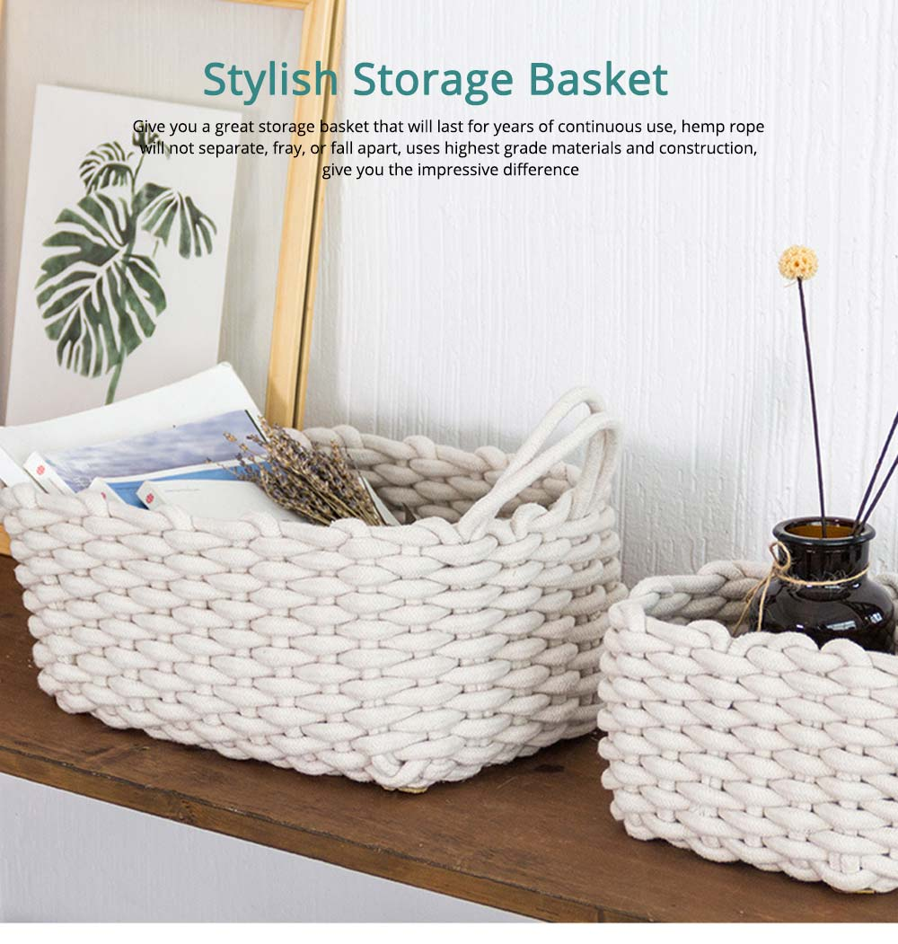 Minimalist Hemp Rope Storage Basket, Stylish Square Storage Container 0
