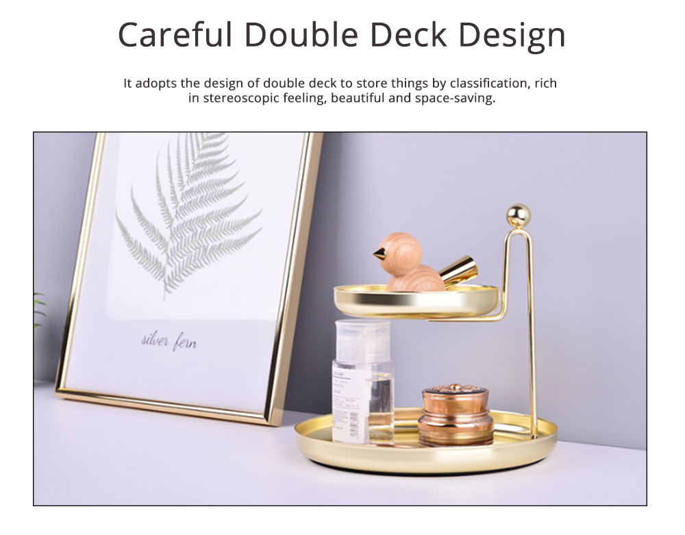 Nordic Style Storage Plate with Double-layer, Golden Storage Tray for Small Articles in Table & Dresser 1