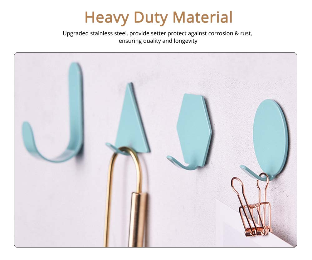 Geometric Seamless Adhesive Hook, Heavy Duty Iron Wall Hook for Bedroom, Living Room 4