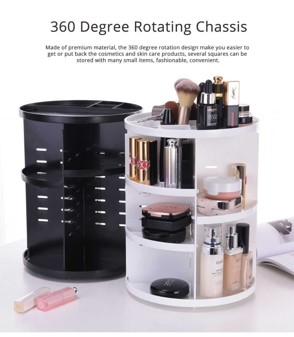 Plastic Cosmetics Case with 360 Degree Rotation, Storage Shelf for Skin Care Products 0